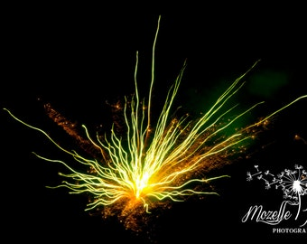 Fireworks in Yellow and Green, Photography, Photograph, Home Decor, Wall Art, Abstract Art, Burst, Fire Work, Fourth of July, Yellow, Green