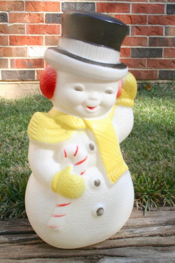 Vintage Plastic Snowman Blow Mold Light Up Holiday Lawn Decor