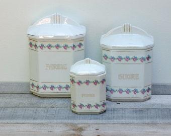 French vintage set of three porcelain jars, French vintage jars