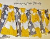 Custom Listing for Dana Tucker! Yellow and grey chevron & polka dot rag tie banner