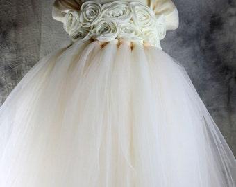 Ivory chiffton flower girl dress Tutu dress Wedding dress Birthday dress Newborn 2T to 8T