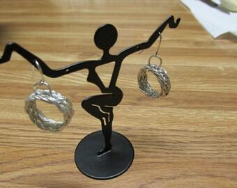 Fine Silver .999 weaved Earrings 20mm.
