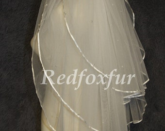 3 Tier Veil,white ivory Veil,Wedding veil,Bridal veil,With comb,Beads Veil