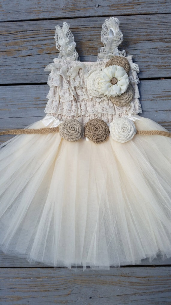 Rustic flower girl dress cream ivory by countrycoutureco for Country wedding flower girl dresses