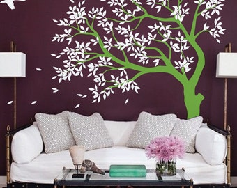 Large  Tree  vinyl decal, nursery vinyl  wall decal, tree wall decal, Vinyl Wall  swallows stickers, vinyl mural - MM027