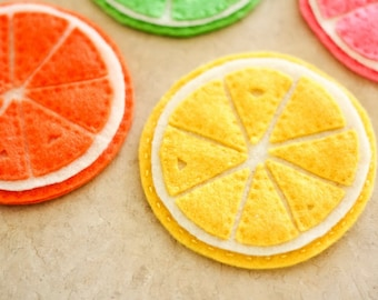 Felt Citrus Coasters - Lemon, Lime, Orange, Grapefruit