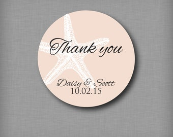 Custom Beach Wedding Favor Stickers Starfish Thank You Labels Candy Buffet Bag Sticker
