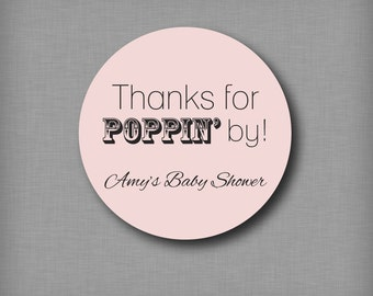 Thanks for Popping By Popcorn Favor Stickers Personalized Baby Shower Favor Labels
