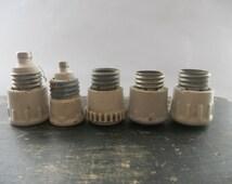 Soviet Vintage ceramic electrical insulators Set of 6 White ceramic supplies Industrial supplies Electrical parts USSR era