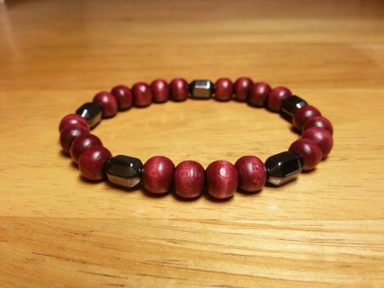 Red Hematite Beads Red Wine Wood B...