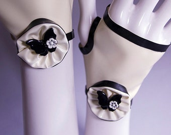 Latex fingerless short gloves with black bat, butterfly white flower cabochon
