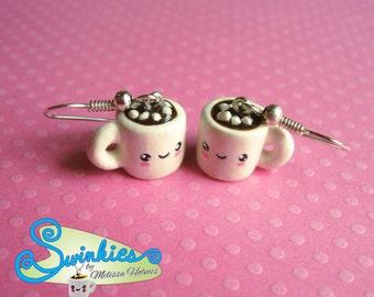 Hot Cocoa  with Mini Marshmallows Mug earrings.
