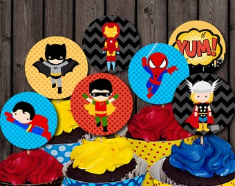 INSTANT DOWNLOAD, Super hero cupcake toppers, birthday party supplies, 8 super heroes, printable square, or circle tags if cut