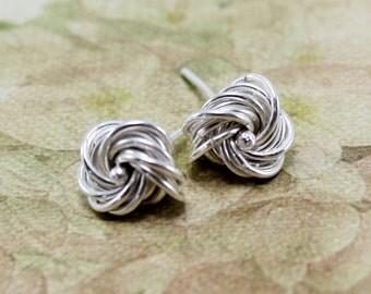 Sterling Silver Knot Earrings - Knot Earrings - Silver Earrings
