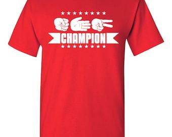 Rock. Paper. Scissors. Champion Tshirt. game tshirt. silly tshirt. funny tshirt. humor tshirt. lol tshirt. original design tshirt. TH-107