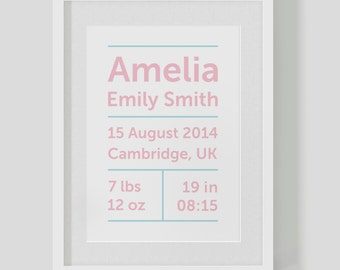 Personalised birth announcement baby girl — Christening name print / poster — Nursery Art — FREE WORLDWIDE SHIPPING