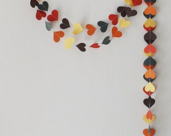 Fall Banner Fall Paper Heart Garland , Fall Garland ,Thanksgiving Garland, Engagement party ,Canada Day , Fall Wedding