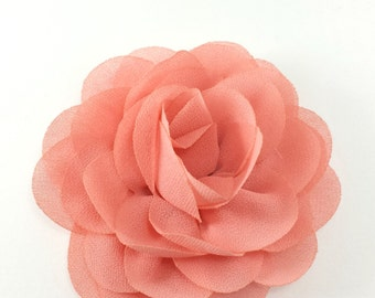 "3"" Light Coral silk rose fabric flower - Rosette silk flower for headbands - Wedding hair clip flower - Wholesale chiffon flowers"