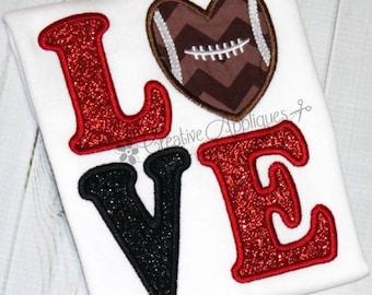 Football Love Machine Embroidery Applique Design 4 Sizes