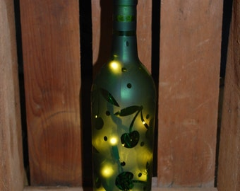 Lighted Cherry Etched Wine Bottle