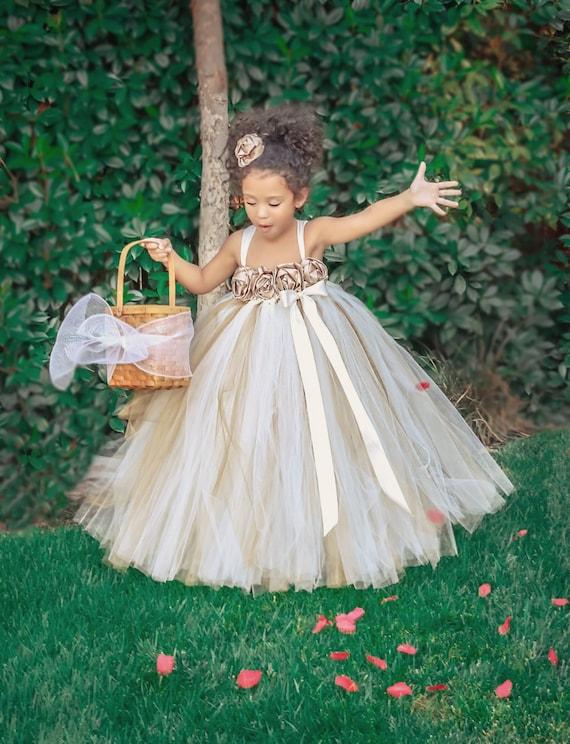 Ivory Gold Champagne Flower Girl Dress Ivory Flower Girl