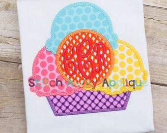 Monogram Circle Ice Cream Bowl Summer Machine Applique Design