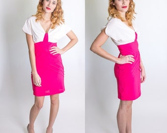 Vintage 1980's Hot Pink / Ivory Cocktail Dress / Mini-Dress / Capped Sleeves/ Plunging V-Neck / Bodycon / Bandage / Size Small