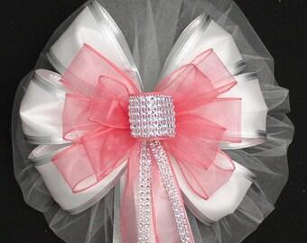 Coral Bling White Wedding Pew Bow - Bling Wedding, Church Pew Decorations, Wedding Aisle Decorations, Wedding Ceremony Bow
