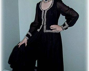 Old West: Vintage Black Gaucho Pant Costume Dress