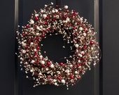 Berry Red and White Wreath - Christmas Wreath - Valentines Day Wreath - Red and Cream Wreath - Pip Berry Wreath - Rustic Red Wreath