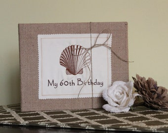 Personalized Scallop Shell Photo Album / Scrapbook - Burlap - Hawaiian, Beach, Island, Wedding, Anniversary, Vacation, Bridesmaid Gift
