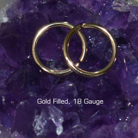 Tragus Earring - Gold Nose Ring - Rook Earring - Cartilage Hoop - Forward Helix Earring - Septum Ring - Tragus Piercing 18 gauge