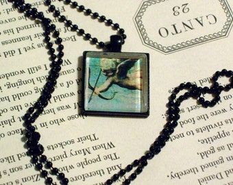 Vintage Cupid Necklace - Black Pendant Setting and Ball Chain - 25mm Square Glass Cabochon