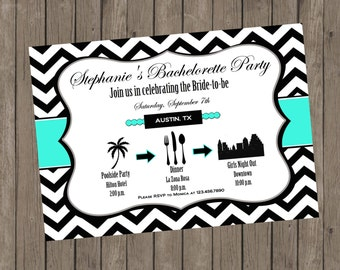 Printable Bachelorette Invitation - Stephanie Turquoise