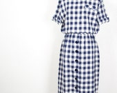 Vintage Gingham Dress Navy Becky Ellis Small SALE was 48.00