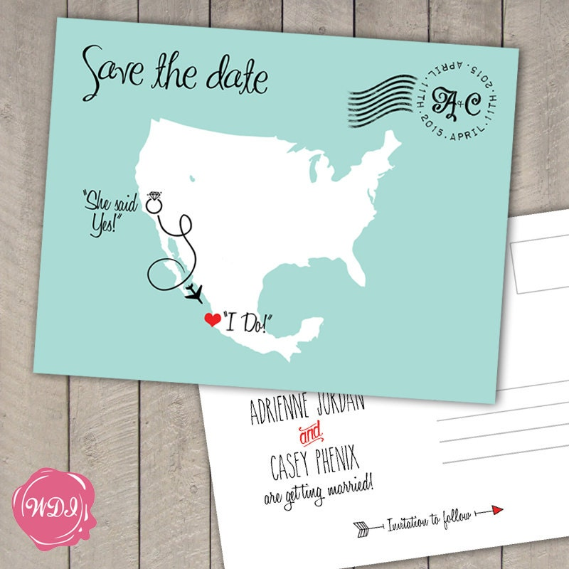 Save The Date Destination Wedding Invitations: Destination Wedding Save The Date Postcard US & Mexico