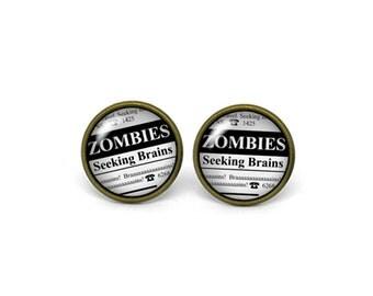 X299- Zombies Seeking Brains, Glass Dome Post Earrings