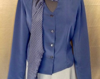 formal blouse, silk bluose,blue blouse with pois collar