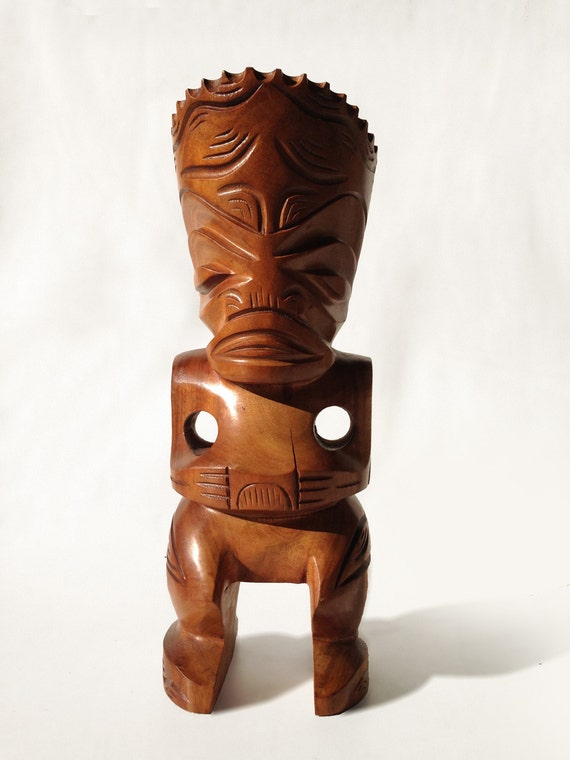 Vintage French Polynesian Tiki Wood Carved Sculpture From