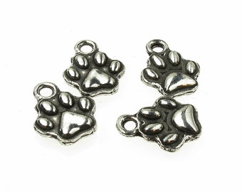 Small Dog Paw Charm,  QTY: 20 Small Dog Paw Findings - See Photos For Other Finish Options