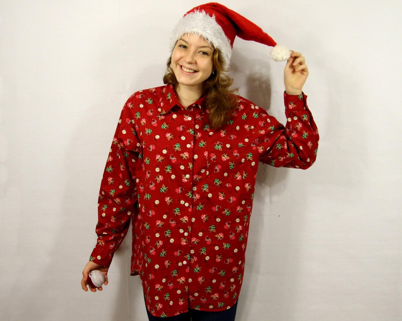 Red christmas button up shirt long sleeve printed christmas