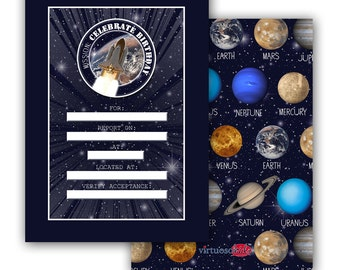 SPACE and planets, Solar System Printable Birthday Party Invitation Realistic FRONT FILE