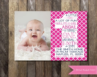 PRINTABLE First Birthday Invitation with Picture - 1st Birthday Invitation -  Girls Boys Birthday Party 4x6 or 5x7