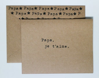 Simple Father's Day Card «Papa, je t'aime.» With matching envelope