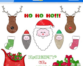Father Christmas Digital Clip Art. Santa Clipart for Instant Download. Christmas Clipart. Xmas Clipart. Rudolf Clip Art.