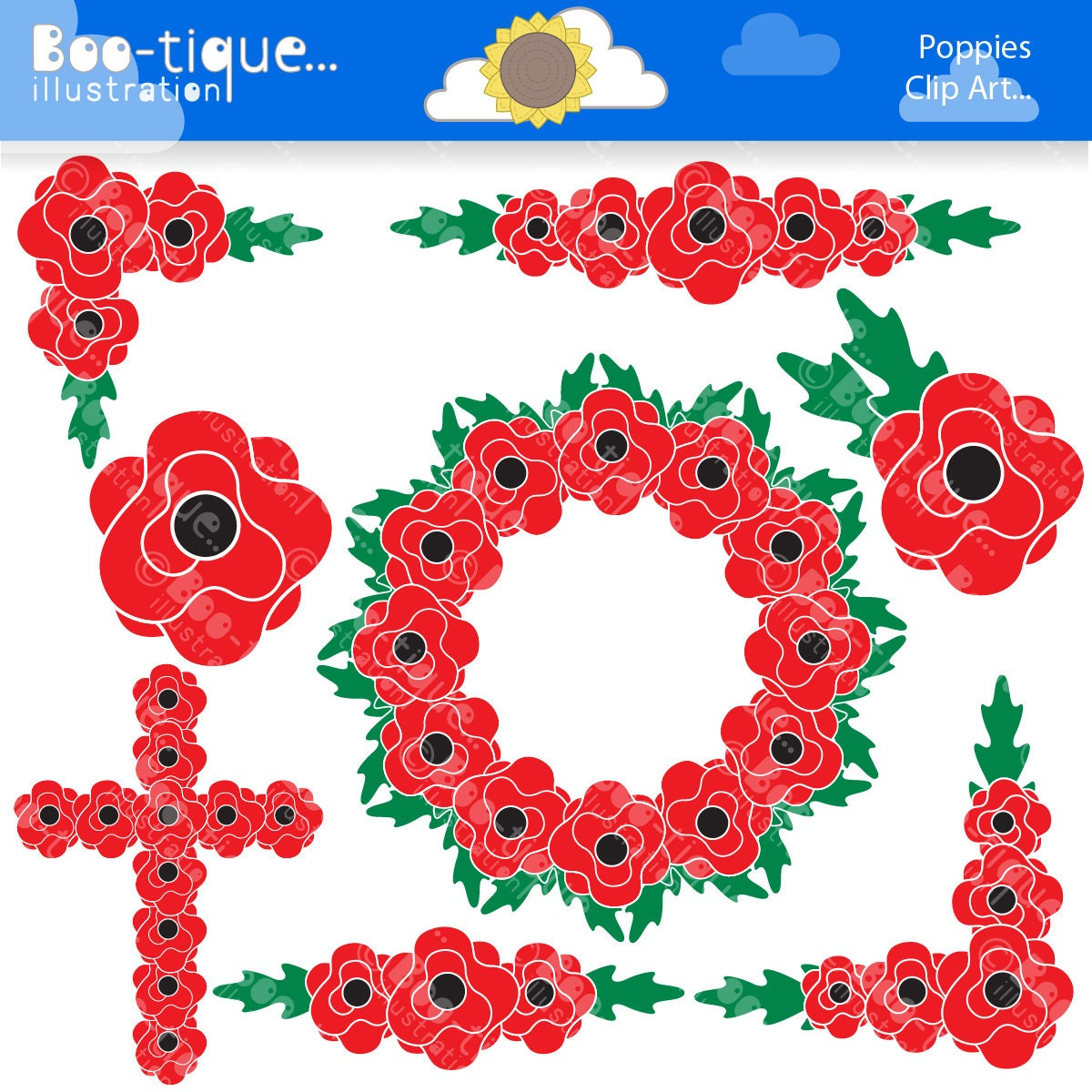 Poppies Digital Clpart Poppy Clipart Poppies Clip Art Remembrance