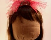 Bachelorette Veil - Amazing Pink Lace and Tulle Tiara Creation for your Bubbly Bachelorette!