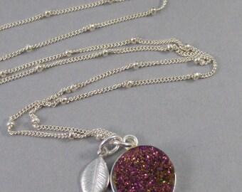 Lavender Druzy,Druzy Necklace,Purple Druzy,Purple Agate,Geode,Silver Gemstone Necklace,Necklace,Gemstone,Lavender Necklace. Seamaidenjewelr
