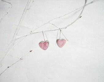 Boucles d'oreilles, petits coeurs rose pastel en céramique, argent 925, cadeau fête des mères, mariage, saint Valentin