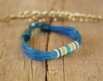 Blue linen bracelet, african bracelet, multistrand linen bracelet, natural gift, organic bracelet, beaded bracelet for her, gift for sister